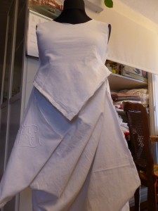 "Dolly and I started out with cutting and shaping this dress. My ""Hiking Dress""..."